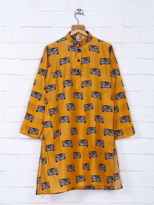 Mustard Yellow Animal Print Kurta