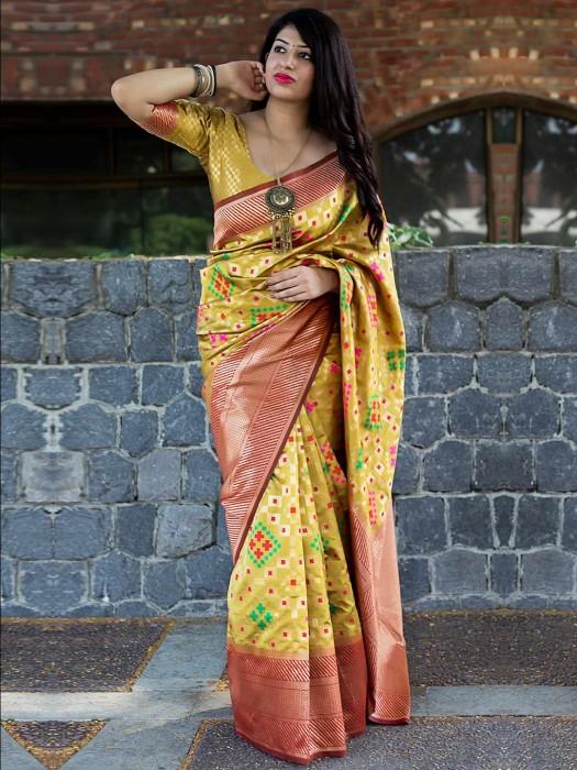 Mustard Yellow Banarasi Patola Silk Designer Saree