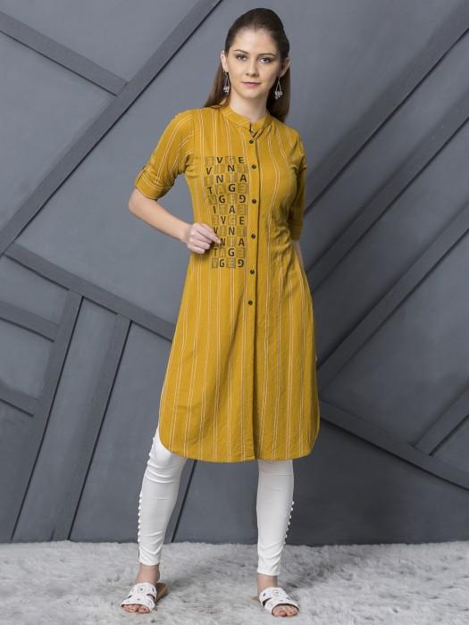 Mustard Yellow Casual Cotton Stripe Kurti