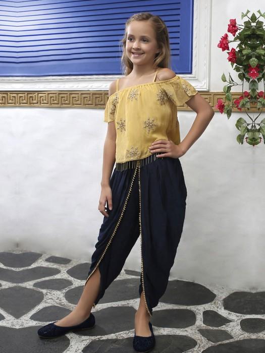 Mustard Yellow Chiffon Fabric Designer Dhoti Suit