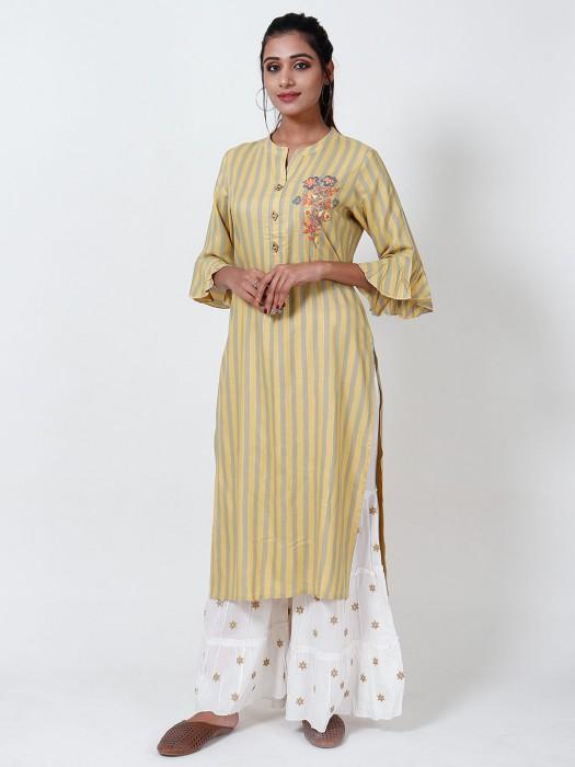 Mustard Yellow Cotton Sharara Set