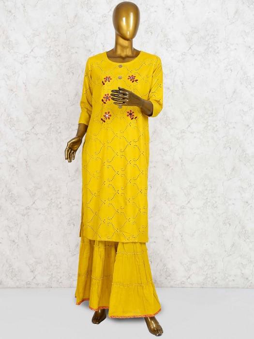 Mustard Yellow Cotton Sharara Suit