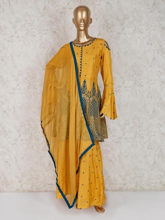 Mustard Yellow Cotton Silk Festive Punjabi Palazzo Suit