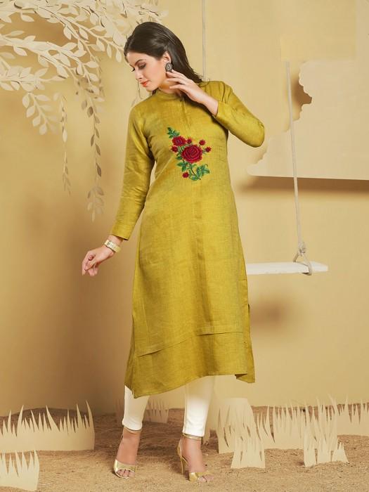 Mustard Yellow Cotton Silk Kurti