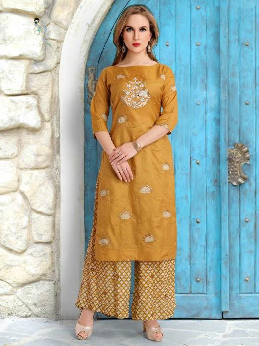 Mustard Yellow Cotton Silk Thread Weaving Palazzo Suit