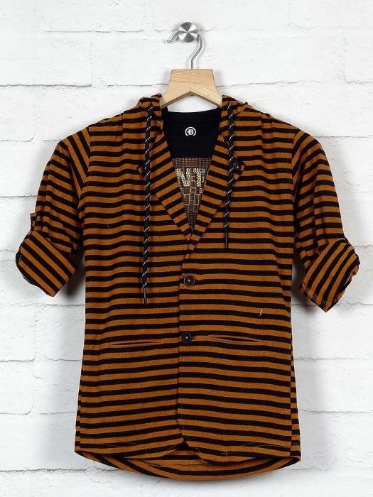 Mustard Yellow Cotton Stripe Blazer