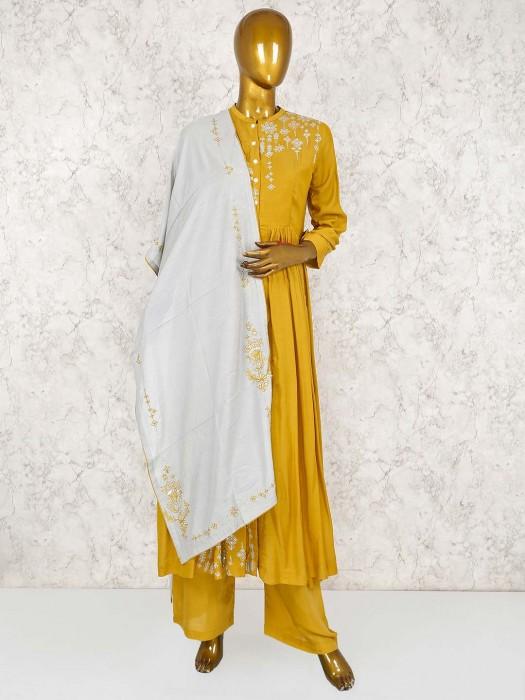 Mustard Yellow Festive Wear Cotton Salwar Suit