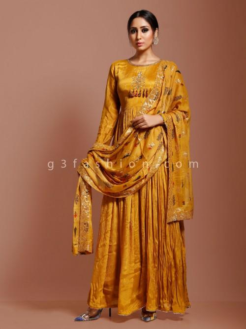 Mustard Yellow Georgette Sequins Work Anarkali