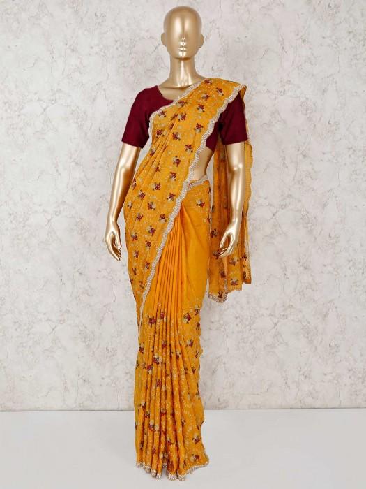 Mustard Yellow Haldi Function Silk Saree