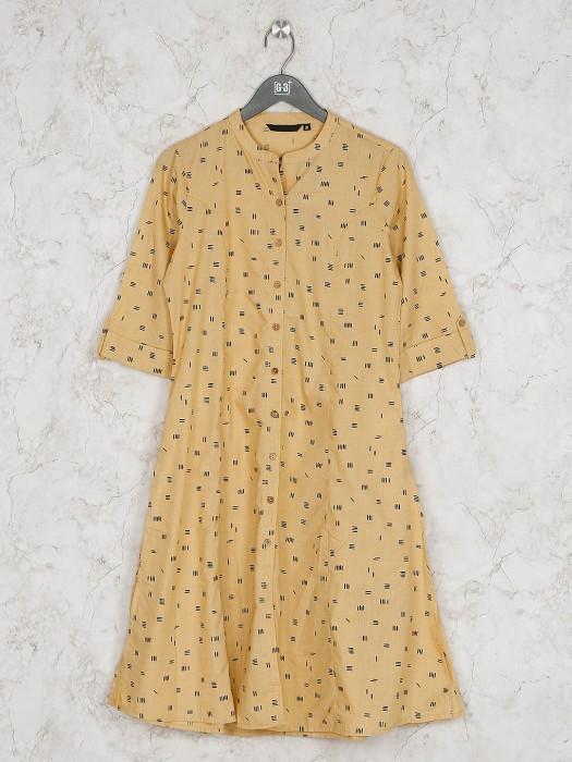 Mustard Yellow Printed Pattern Cotton Fabric Kurti