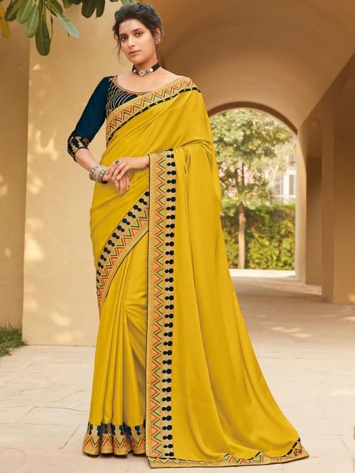 Mustard Yellow Satin Saree For Weddings