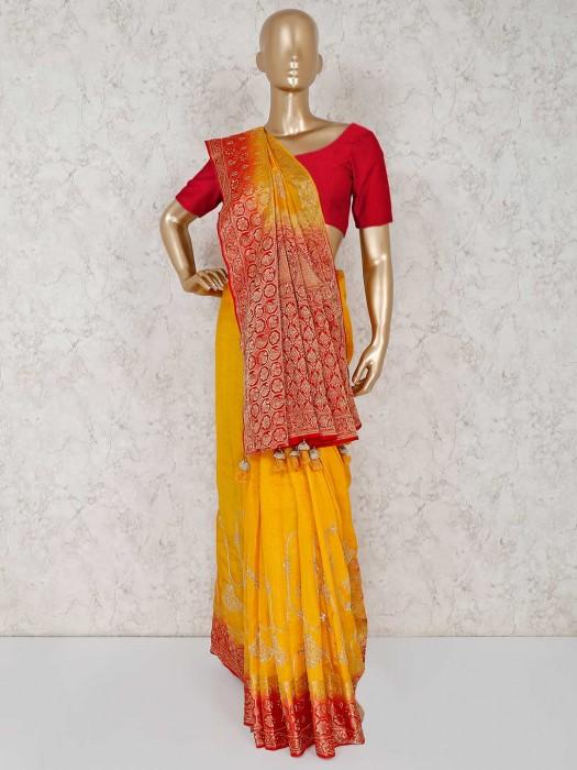 Mustard Yellow Silk Wedding Or Reception Saree