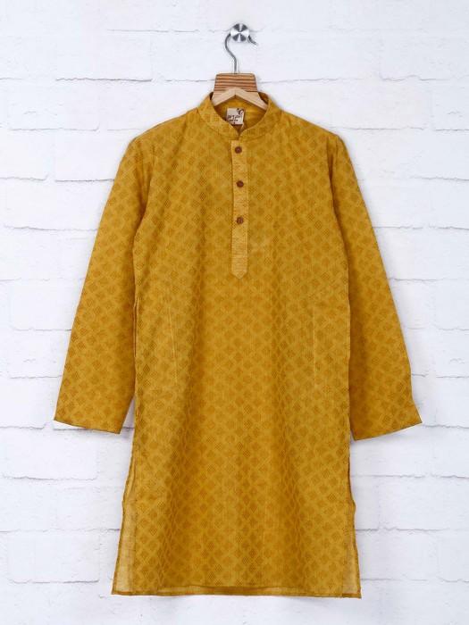Mustard Yellow Thread Work Kurta