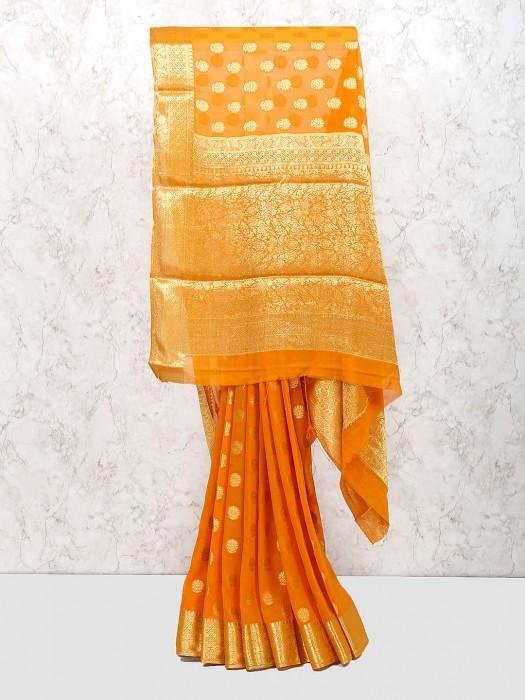 Orange Wedding Wear Georgette Saree