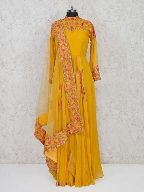 Mustrad Yellow Long Anarkali Salwar Suit For Festivals
