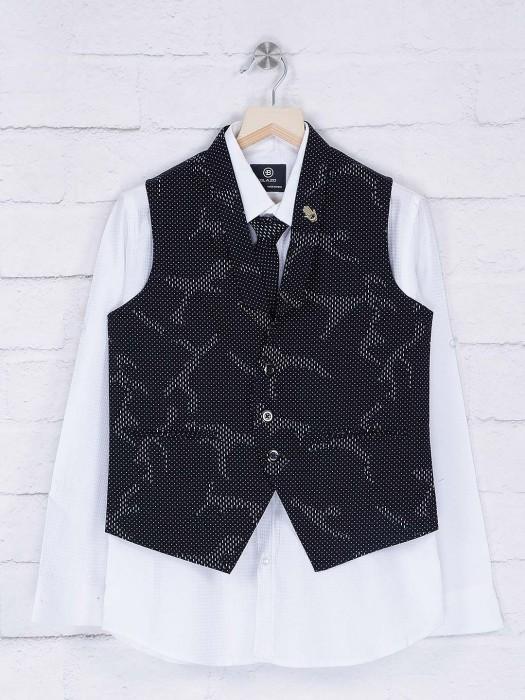 Navy And White Party Wear Waistcoat Shirt