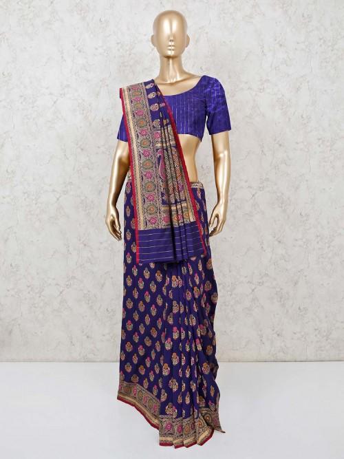 Navy Banarasi Silk Saree In Party Wear