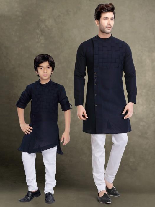 Navy Bandhgala Checks Father Son Kurta Suit