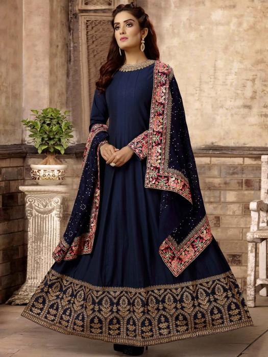 Navy Blue Anarkali Suit In Cotton Silk