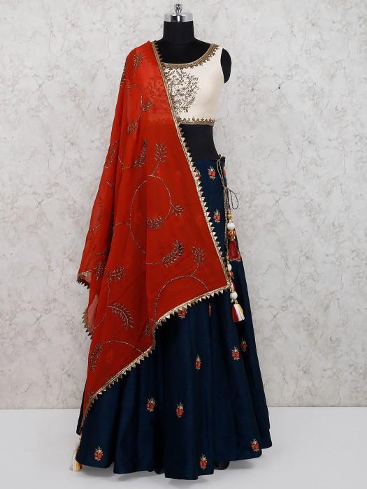 Navy Blue And Cream Color Cotton Silk Lehenga Choli