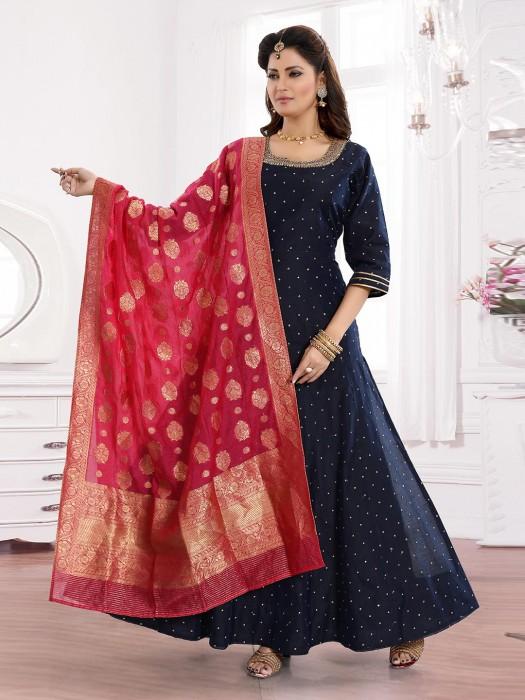Navy Blue Cotton Silk Floor Length Anarkali Suit