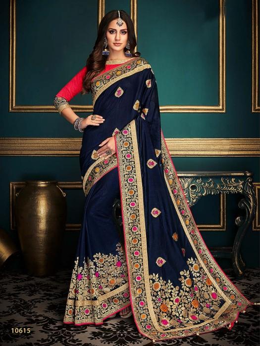 Navy Blue Cotton Silk Pretty Saree