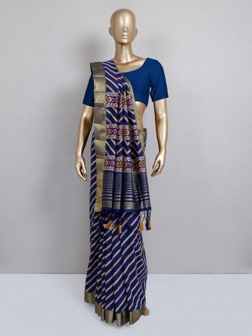 Navy Blue Festive Wear Cotton Silk Sari