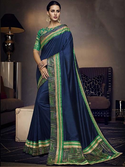 Navy Blue Pretty Saree In Satin Fabric