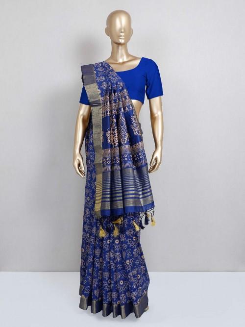 Navy Blue Printed Cotton Silk Saree