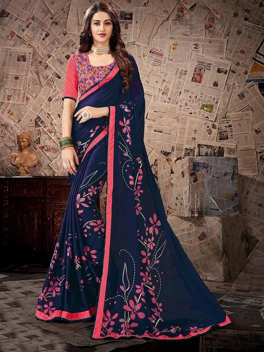 Navy Blue Printed Saree In Satin Georgette
