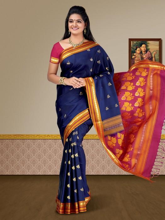 Navy Blue Pure Silk Fabric Kanjivaram Saree