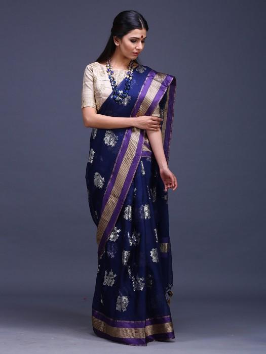 Navy Blue Pure Silk Wonderful Saree