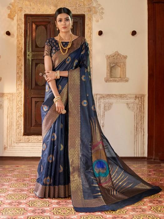 Navy Blue Saree In Silk Fabric