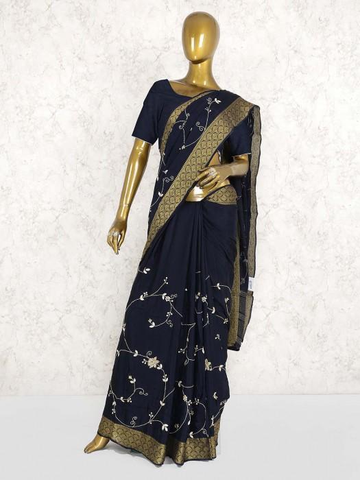 Navy Blue Semi Silk Festive Saree