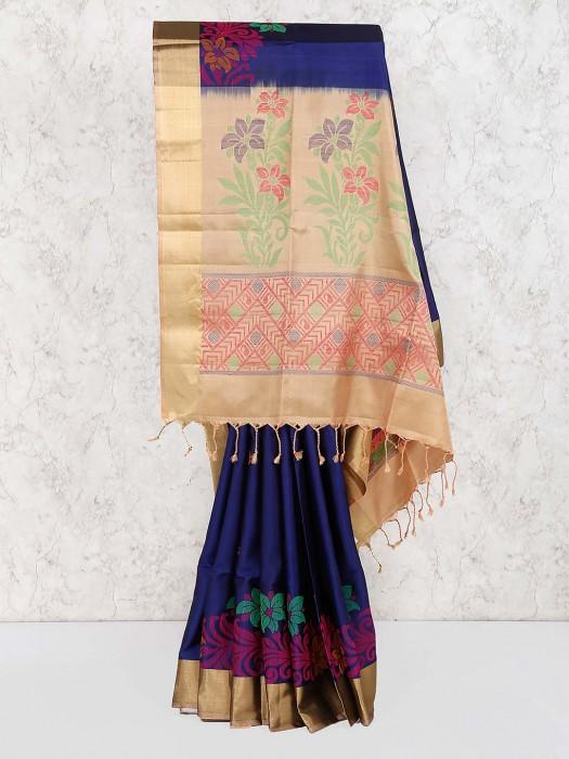 Navy Blue Semi Silk Wedding Wear Saree