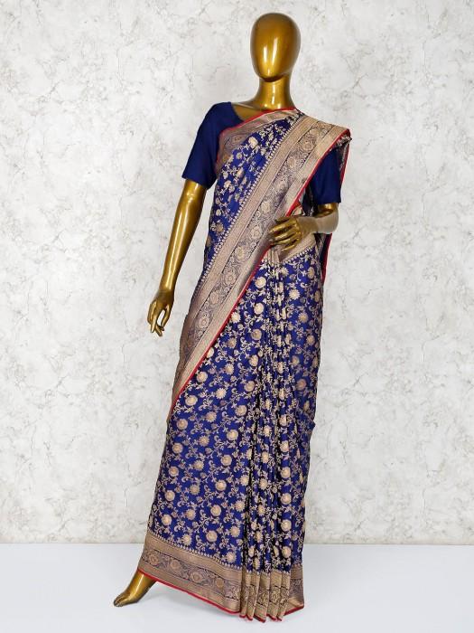 Navy Blue Zari Weaving Silk Saree