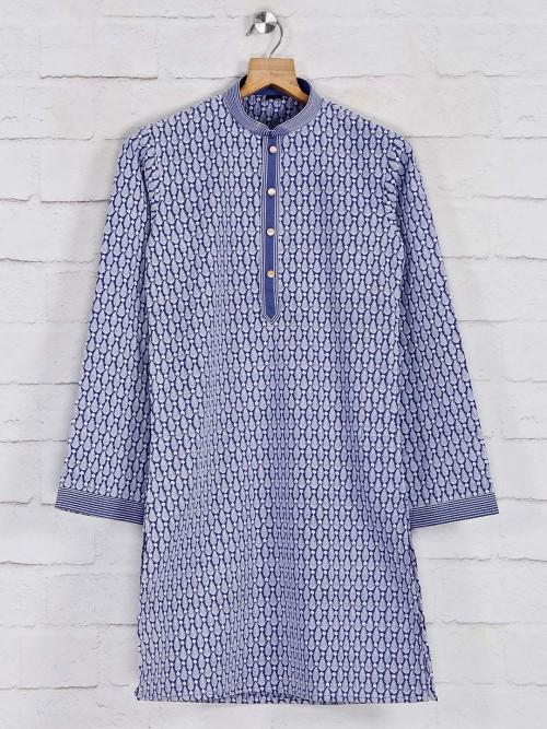 Navy Boys Classic Cotton Kurta Suit