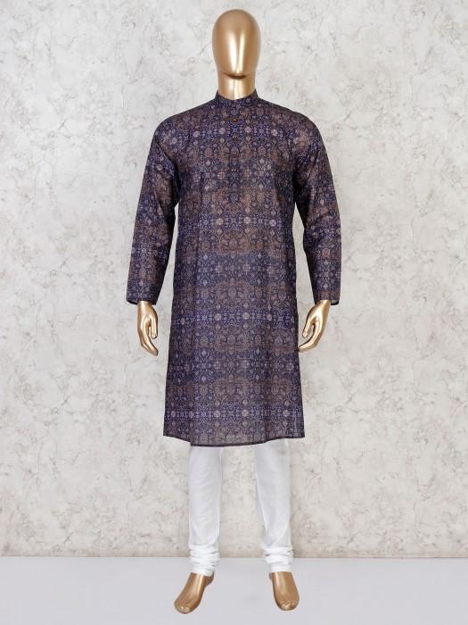 Navy Cotton Festive Wear Printed Kurta Suit