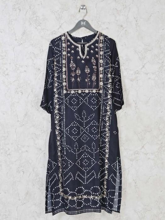 Navy Cotton Silk Casual Wear Kurti