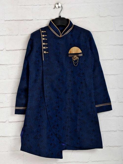 Navy Cotton Silk Indo Western For Wedding