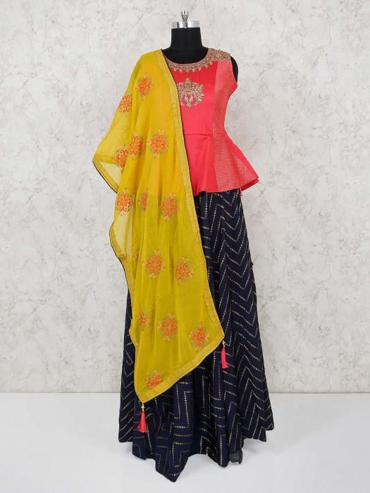 Navy Cotton Silk Peplum Style Lehenga Choli