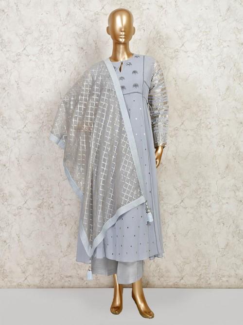 Grey Cotton Wedding Wear Palazzo Suit