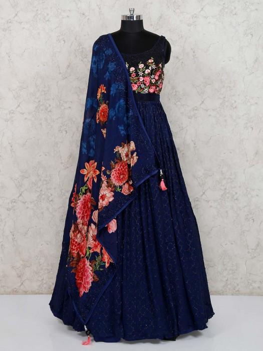 Navy Designer Party Anarkali Salwar Suit