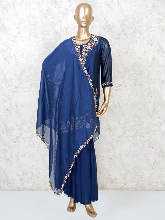 Navy Designer Punjabi Sharara Suit In Cotton Silk