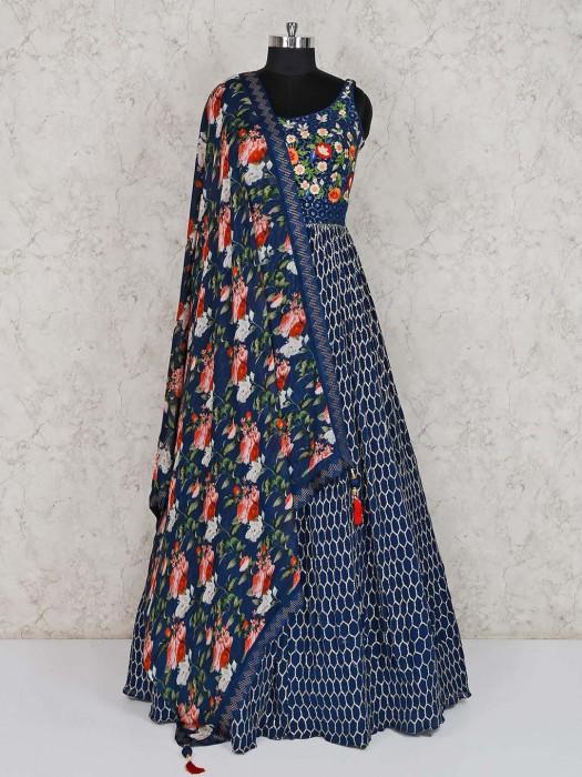 Navy Georgette Designer Anarkali Suit