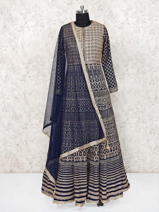 Navy Georgette Designer Floor Length Anarkali Suit