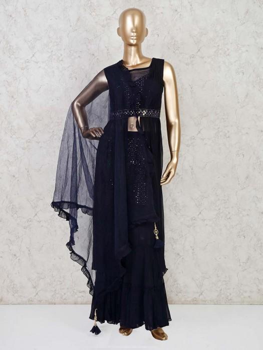 Navy Georgette Designer Indo Western Sharara Suit
