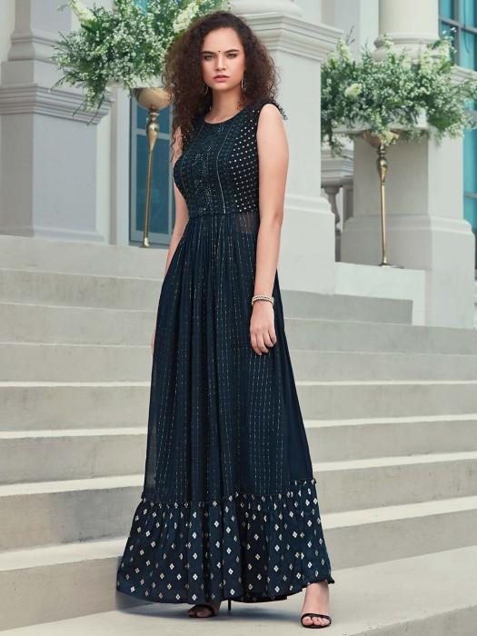 Navy Georgette Lakhnavi Thread Designer Anarkali Suit