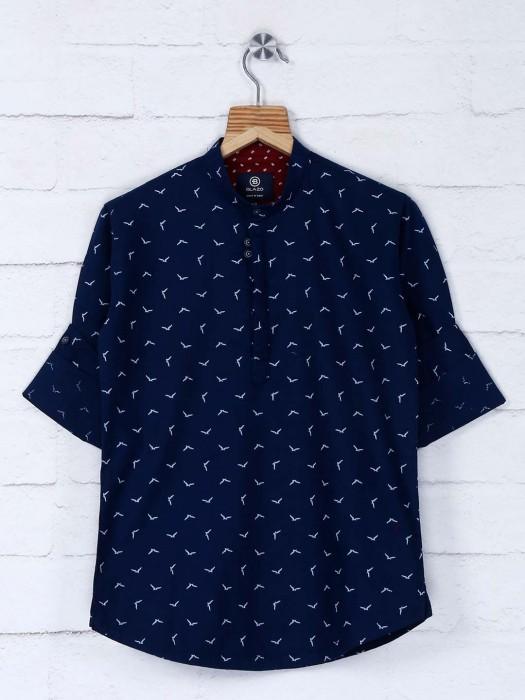 Navy Hue Printed Cotton Fabric Kurta