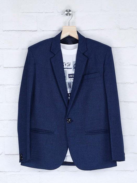 Navy Hue Solid Terry Rayon Fabric Blazer